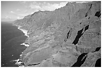 Aerial view of coastline, Na Pali Coast. Kauai island, Hawaii, USA ( black and white)