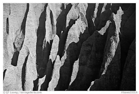 Aerial view of ridges, Na Pali Coast. Kauai island, Hawaii, USA (black and white)
