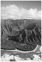 Aerial view of the East end of the Na Pali Coast, with Kee Beach. Kauai island, Hawaii, USA ( black and white)