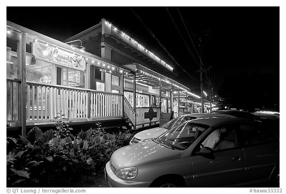 Lapperd's ice cream store, Koloa. Kauai island, Hawaii, USA (black and white)