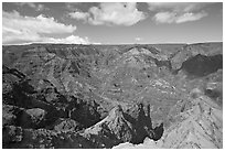View from Waimea Canyon lookout, afternoon. Kauai island, Hawaii, USA (black and white)