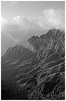 Lush Hills above Kalalau Valley and clouds, late afternoon. Kauai island, Hawaii, USA ( black and white)