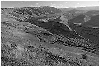 Valley carved by the Waimea River, lower Waimea Canyon, early morning. Kauai island, Hawaii, USA (black and white)
