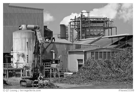 Sugar cane factory. Kauai island, Hawaii, USA (black and white)
