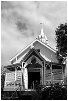Saint Benedict Catholic Church called Painted Church, Captain Cook. Big Island, Hawaii, USA (black and white)