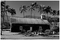Ihiihio Iehowa o na Kaua Church, Keanae Peninsula. Maui, Hawaii, USA ( black and white)