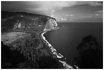 Waipio Valley and beach. Big Island, Hawaii, USA (black and white)