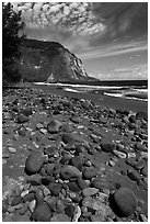 Rocks and black sand beach, Waipio Valley. Big Island, Hawaii, USA (black and white)