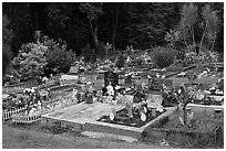 Tomb with easter eggs and rabbits, Hilo. Big Island, Hawaii, USA ( black and white)
