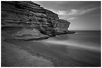Papakolea Beach and cliff. Big Island, Hawaii, USA (black and white)
