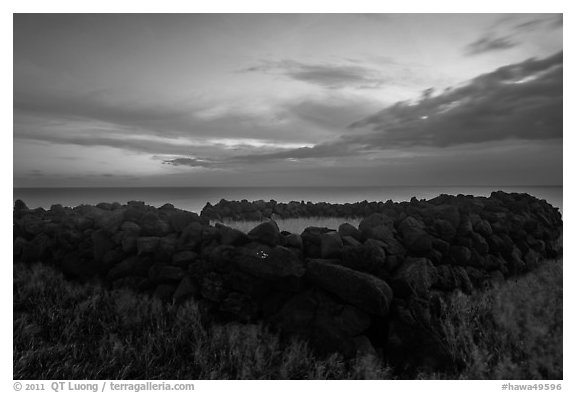 Ruins of ancient hawaiian temple at dusk, South Point. Big Island, Hawaii, USA (black and white)