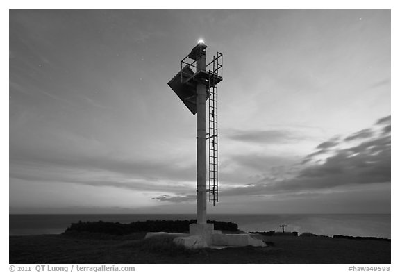 Ka Lea Light at dusk, southernmost point in the US. Big Island, Hawaii, USA (black and white)