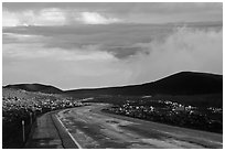 Road and sea of clouds. Mauna Kea, Big Island, Hawaii, USA (black and white)