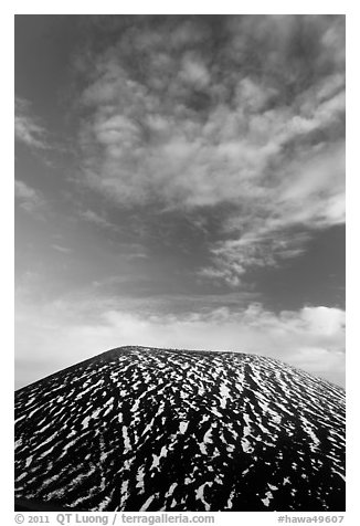 Snowy cinder cone and clouds. Mauna Kea, Big Island, Hawaii, USA (black and white)