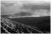 Volcanic mountains and clouds at sunset. Mauna Kea, Big Island, Hawaii, USA (black and white)