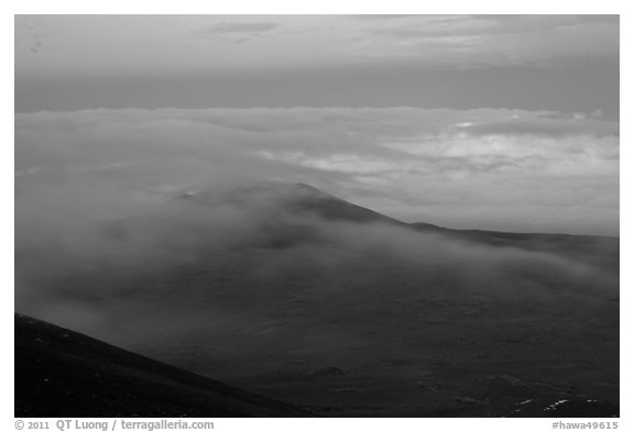Sea of clouds and earth shadow. Mauna Kea, Big Island, Hawaii, USA (black and white)