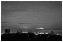 Mauna Kea observatories at night. Mauna Kea, Big Island, Hawaii, USA (black and white)