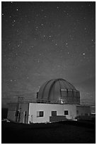 United Kingdom Infrared Telescope and stars. Mauna Kea, Big Island, Hawaii, USA (black and white)