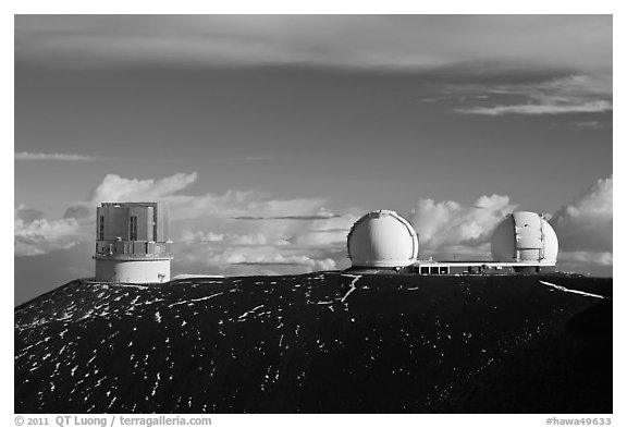 Subaru Telescope and Keck Observatory. Mauna Kea, Big Island, Hawaii, USA (black and white)
