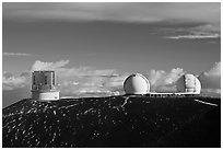 Subaru Telescope and Keck Observatory. Mauna Kea, Big Island, Hawaii, USA ( black and white)