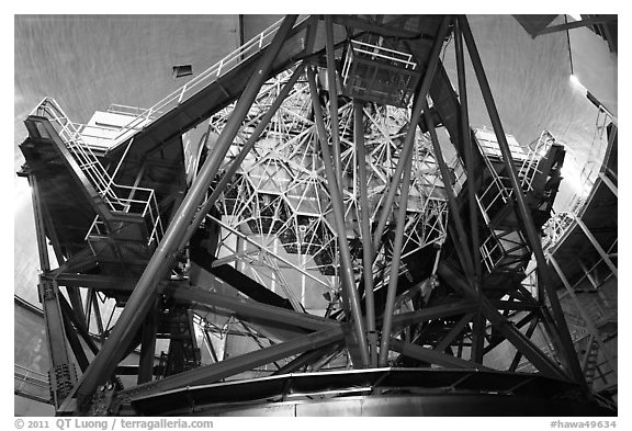 Inside Keck Observatory. Mauna Kea, Big Island, Hawaii, USA (black and white)