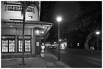 Front street at night. Lahaina, Maui, Hawaii, USA (black and white)