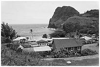 Kahakuloa village and Kahakuloa Bay. Maui, Hawaii, USA (black and white)