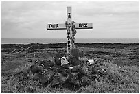 Roadside memorial. Maui, Hawaii, USA (black and white)