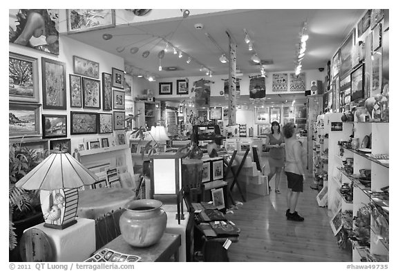 Art gallery. Lahaina, Maui, Hawaii, USA (black and white)