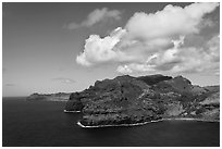 Aerial view of coastline near Lihue. Kauai island, Hawaii, USA ( black and white)