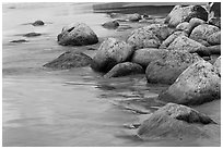 Mossy rocks on Hanakapiai Beach. Kauai island, Hawaii, USA ( black and white)