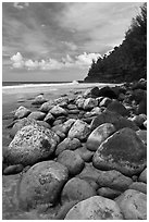 Hanakapiai Beach and rocks. Kauai island, Hawaii, USA ( black and white)