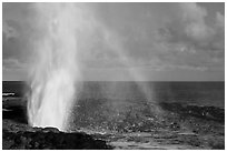 Spouting Horn with rainbow, late afternoon. Kauai island, Hawaii, USA (black and white)