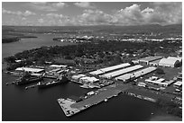 Hickam AFB and Pearl Harbor. Honolulu, Oahu island, Hawaii, USA ( black and white)