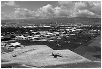 Hickam Air Force Base. Honolulu, Oahu island, Hawaii, USA ( black and white)