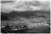 Honolulu from the air. Honolulu, Oahu island, Hawaii, USA (black and white)
