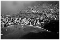 Aerial view of Kapiolani Park. Honolulu, Oahu island, Hawaii, USA (black and white)