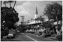 Street, Kailua-Kona. Hawaii, USA (black and white)