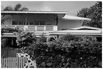 Residence with tropical flowers, Kailua-Kona. Hawaii, USA ( black and white)