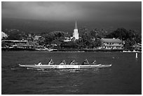 Outrigger canoe and Mokuaikaua church, Kailua-Kona. Hawaii, USA (black and white)
