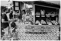 Produce stand, Pahoa. Big Island, Hawaii, USA (black and white)