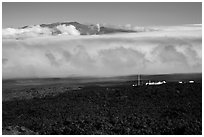 Mauna Loa Observatory, clouds, and Mauna Kea. Big Island, Hawaii, USA (black and white)