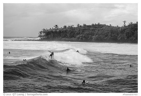 Surfers, Isaac Hale Beach. Big Island, Hawaii, USA (black and white)