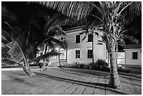 Hulihee Palace at night, Kailua-Kona. Hawaii, USA (black and white)