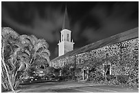 Mokuaikaua church at night, Kailua-Kona. Hawaii, USA (black and white)