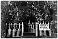 Gate of Mokuaikaua church at night, Kailua-Kona. Hawaii, USA (black and white)
