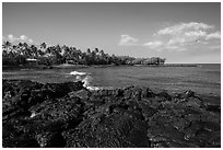 Hardened lava coastline, Kiholo Bay. Big Island, Hawaii, USA ( black and white)