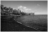 Black sand beach, Kiholo Bay. Big Island, Hawaii, USA ( black and white)