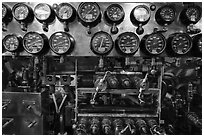 Meters, USS Bowfin submarine, Pearl Harbor. Oahu island, Hawaii, USA ( black and white)