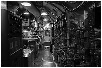 Inside of USS Bowfin submarine, Pearl Harbor. Oahu island, Hawaii, USA ( black and white)